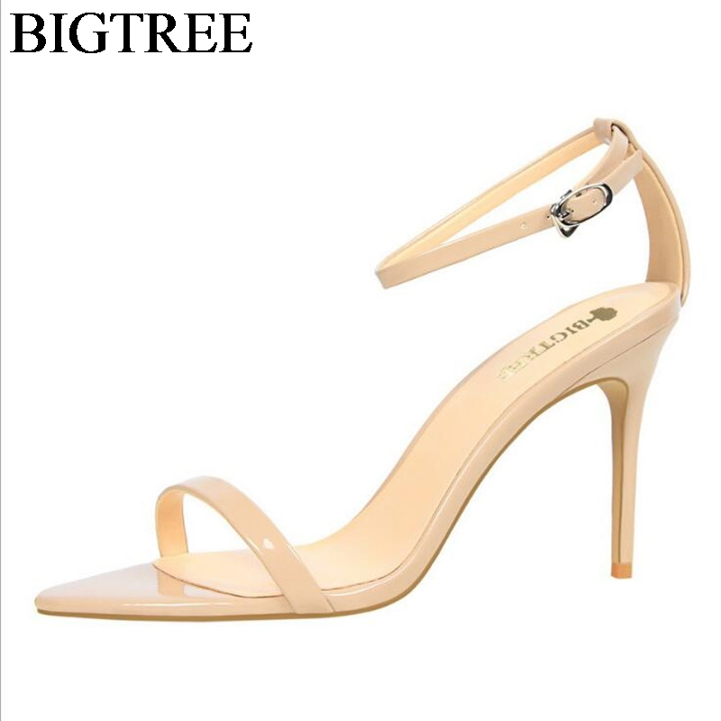 Elegant Office Lady Nude Thin High Heel Stiletto Open Toe Woman Buckle Strap Sandals Patent Leather Gladiator Heels Sandalias  shinny patent leather high platform stiletto buckle strap women sandals party dress nude black lady pumps high heel dress shoes
