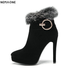 NemaoNe 2018 Large Size 34-43 Platform Women Shoes Woman Fashion High Heels Winter Ankle Boots female party boots Black red