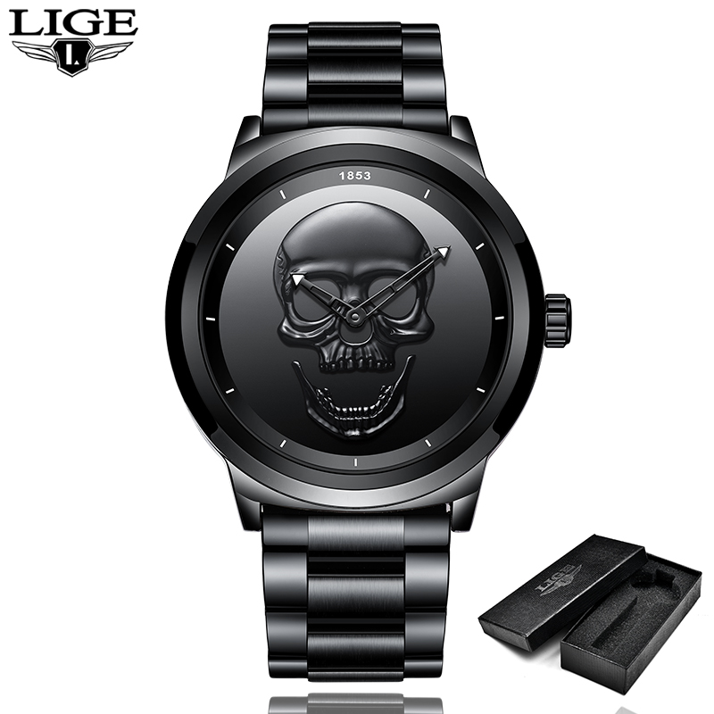 LIGE Men Skull Watch Brand Luxury Stainless Steel Quartz Watches mens Business Fashion Waterproof Retro Clock Relogio masculino