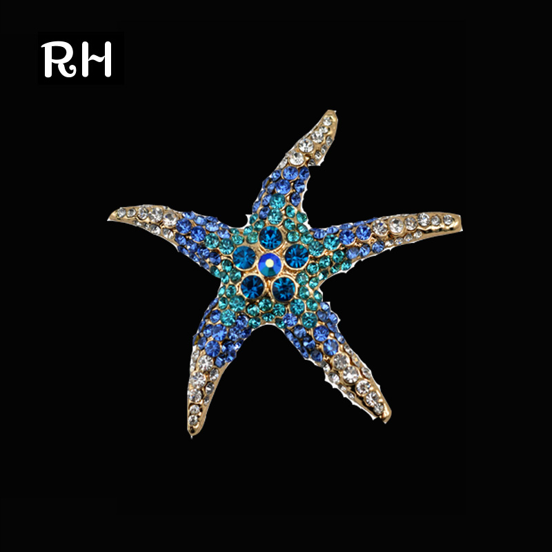 Mix Color Cute Blue Green Crystal Rhinestone Starfish Brooches for women Casual Collar Brooch Elegant Star brooch for women men