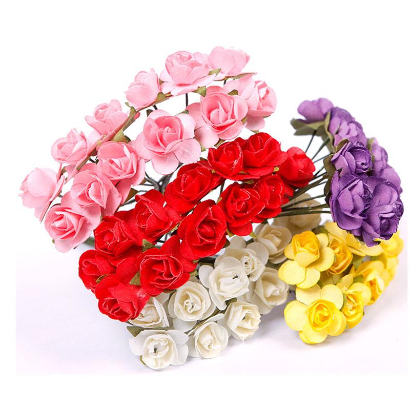 Дома партия Декоративные 144 шт./лот мини искусственный Бумага розы карты Свадебный DIY Декор Ремесло #57960