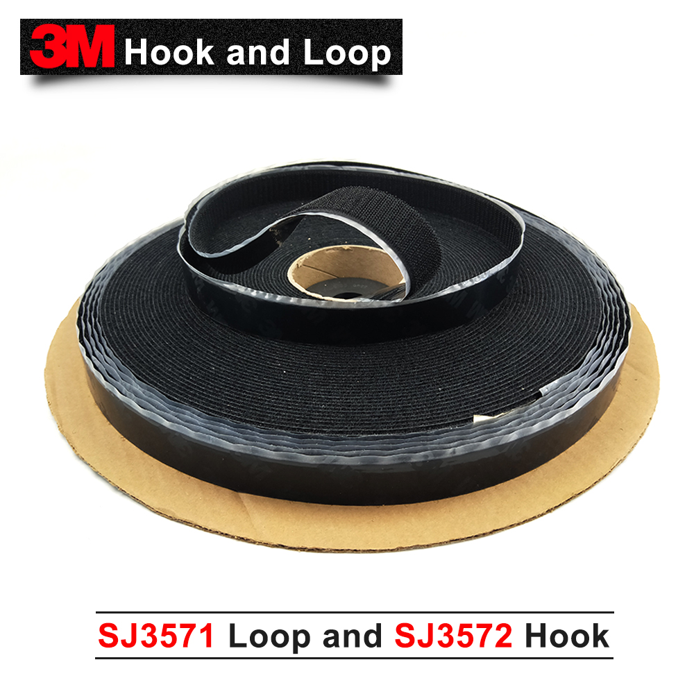 100% original 3M hook and loop acrylic adhesive Fastener SJ3571 Loop and SJ3572 Hook, for clothing Curtain Fastening black color цена