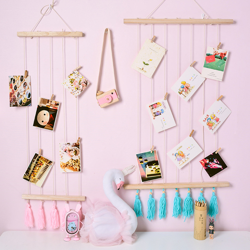 DIY Wood Wall Hanging Photo and Card Storage Ornaments Wooden Beads and Wood Clips Nordic Kids Room Decor Gift Photography Props