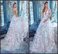 Lace Wedding Dresses White Ivory A-Line 3/4 Sleeves Deep V-neckline 3D Flowers Bridal Ball Gowns Gv20172