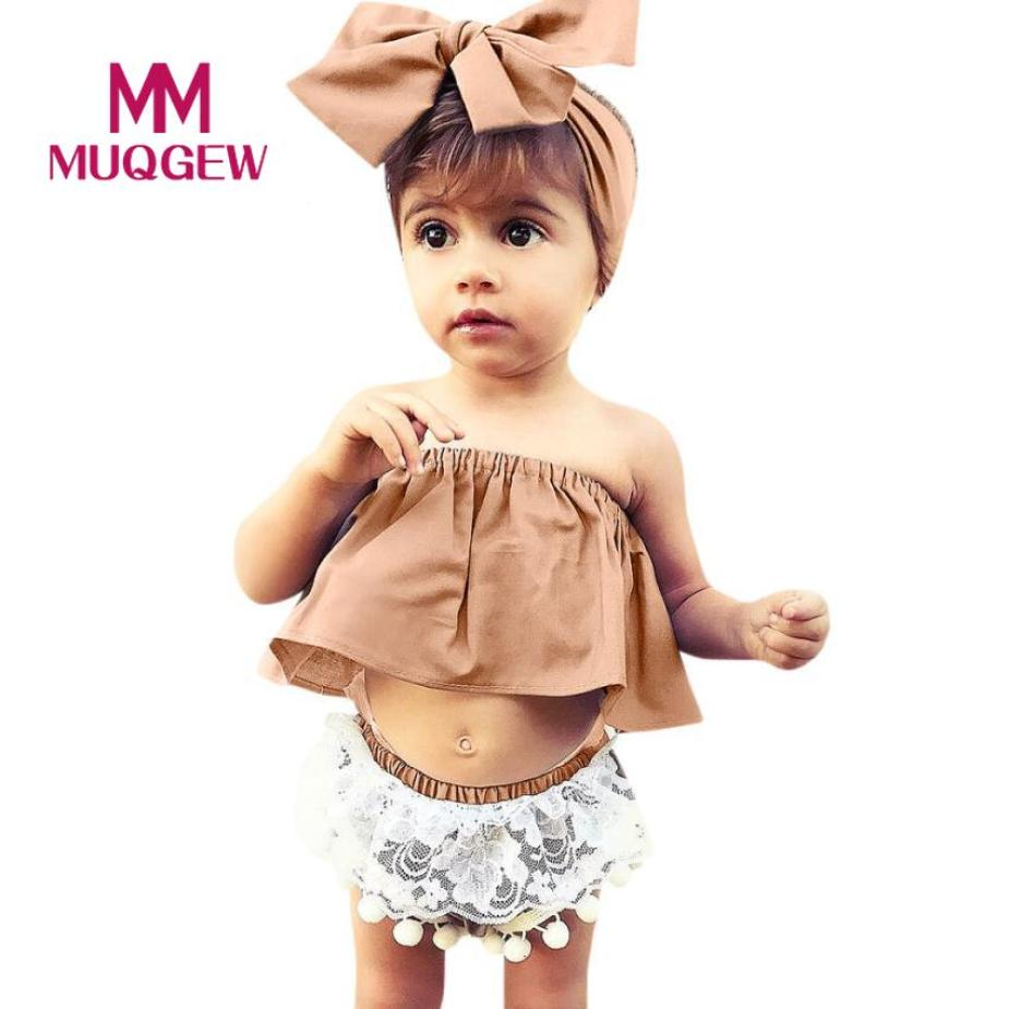 MUQGEW Baby girls clothes suit summer headband 3Pcs Newborn Infant Baby Girls Solid Off Shoulder Tops Lace Shorts Outfits Set 3pcs set cute newborn baby girl clothes 2017 worth the wait baby bodysuit romper ruffles tutu skirted shorts headband outfits