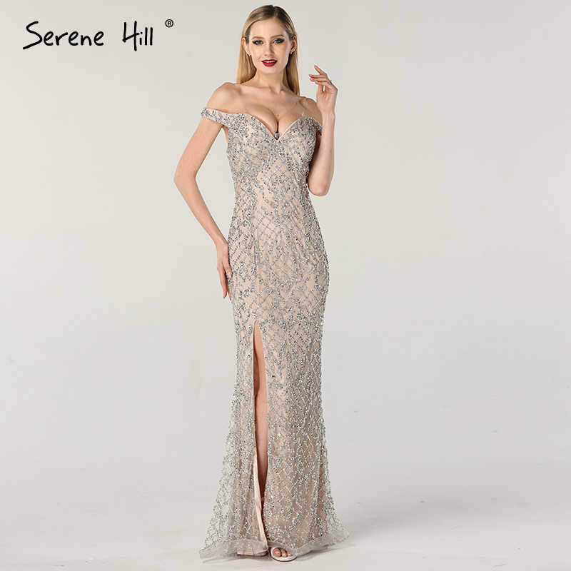 Silver Off Shoulder Luxury Mermaid Evening Dresses 2019 Diamond Beading  Fashion Evening Gowns Serene Hill LA6653 df929f6dd673