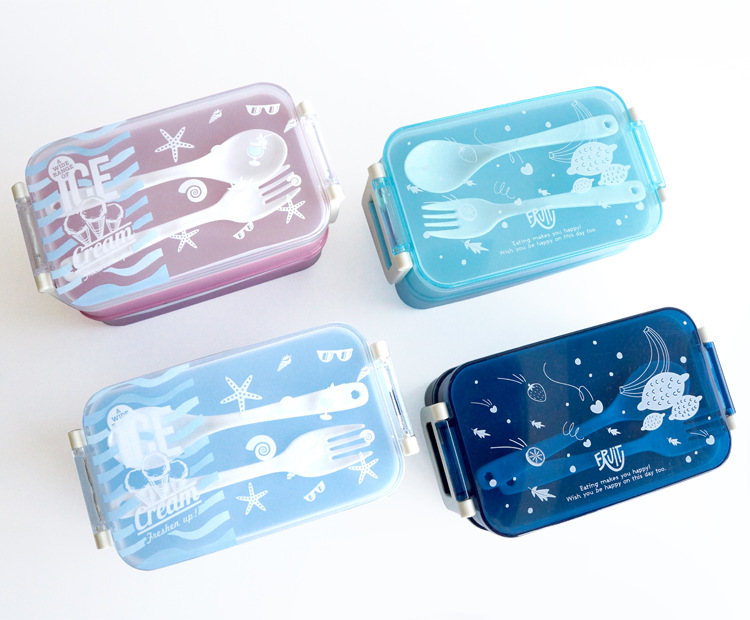 Japanese Plastic Sushi Lunch Bento Box Microwavable LunchBox Children Bento Box <font><b>Set</b></font> For Office School Home With Fork Suit