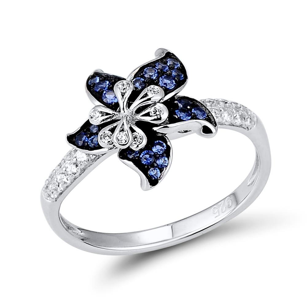 Image 5 - Женский ювелирный набор SANTUZZA, серебряное кольцо из серебра  925 пробы с голубыми звездами и цветком, серьги с белым фианитом, модные  ювелирные изделияring fashion jewelryjewelry rings cheapjewelry ring  storage