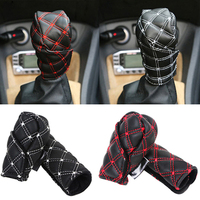 hand brake shift Hot Best 2Pcs/Set Faux Leather Hand Brake Shift Knob Cover Gear Case Car Interior Decor (4)
