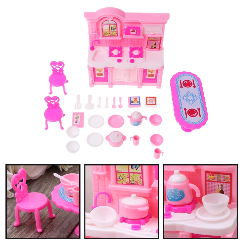Kitchen Furniture Accessories Dolls Dinnerware Cabinet Kids Toy Girl Gift
