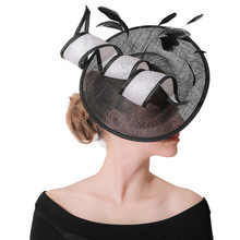 New Ladies Fascinators Hat Women Wedding Royal Prom Hats Sinamay Cocktail Cap Black Headware Tea Party Church Fedora Caps