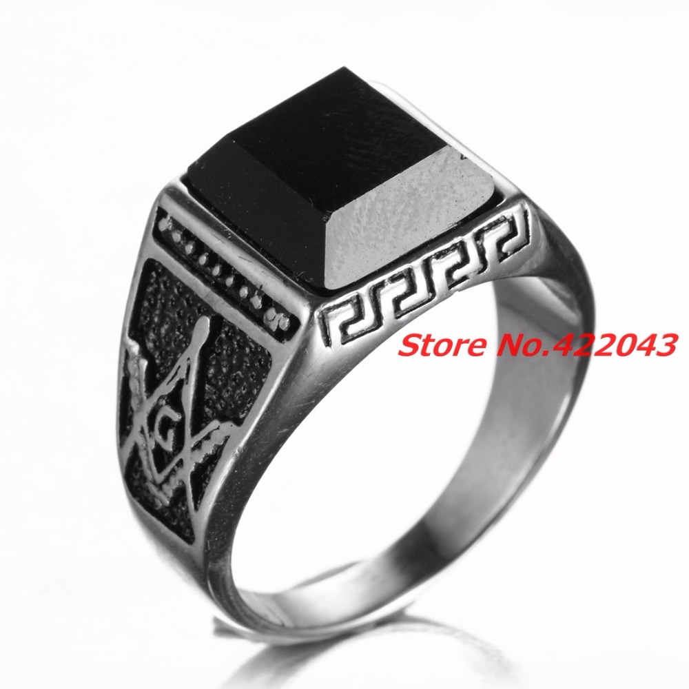 Gold Color Men Masonic Rings With Black Stone Stainless  Steel Wedding Bands For