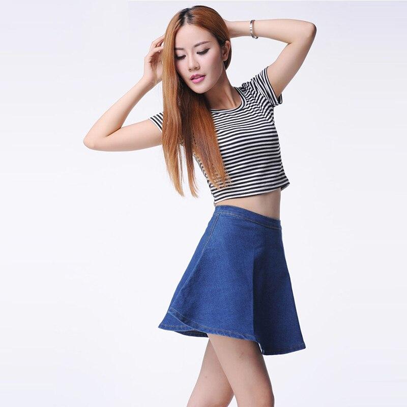 2017 summer women minimalist denim jeans skirt ladies high waist side out zipper casual mini skirt female blue short bottoms