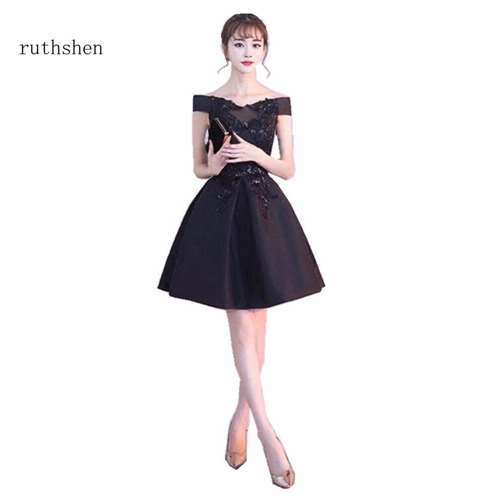 Ruthshen дешёвые Выпускные платья 2018 с лодочкой шеи короткий рукав черный с кружевом длиной выше колена вечерние платья до 100