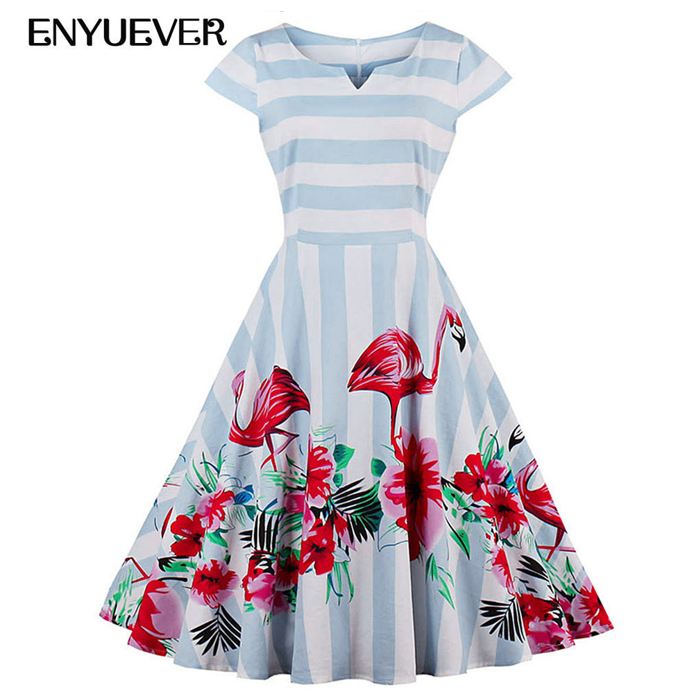 151c73c8cfa Enyuever grande taille Vintage robes 50 s 60 s rayé flamant Robe Robe  Rockabilly Pin Up