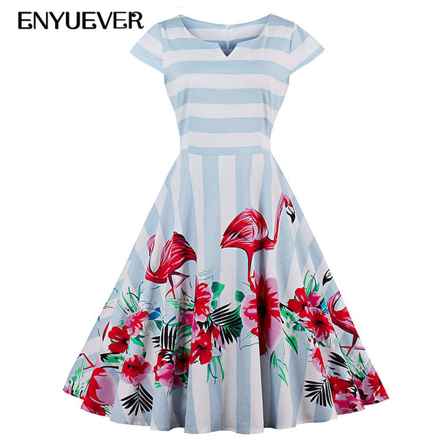 Enyuever Plus Size Vintage Dresses 50s 60s Striped Flamingo Dress Robe Rockabilly Pin Up Big Swing Dance Party Women Clothing In Dresses From Womens