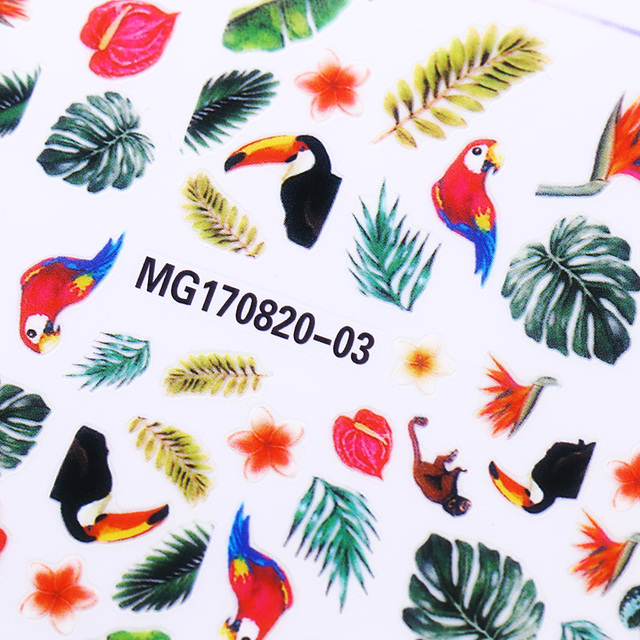 3d nail sticker flower bird nail art adhesive toucan tropical rainforest transfer sticker manicure diy accessory
