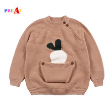 Фотография Spring Winter Autumn Baby Girls Sweater Kid Knitwear Carrot Sweaters with Big Pocket for Girl Knitted Sweater Pullover Clothes