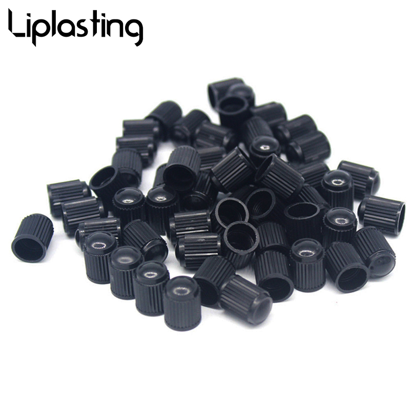 Liplasting 100pcs Plastic Black Tire Valve Air Dust Cover