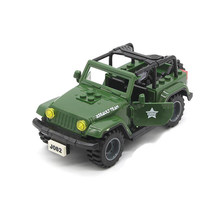 Military Car Jeep Accessories With 2pcs Figures MOC Weapon Gun Building Blocks Model Brick Educational Toys for Kids(China)