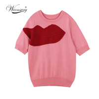 2019 Hot Sale Fashion Summer Brand Intarsia Sweater Women Red Lips Knitted T shirt Slim Short Sleeve Tops Pullover B 030