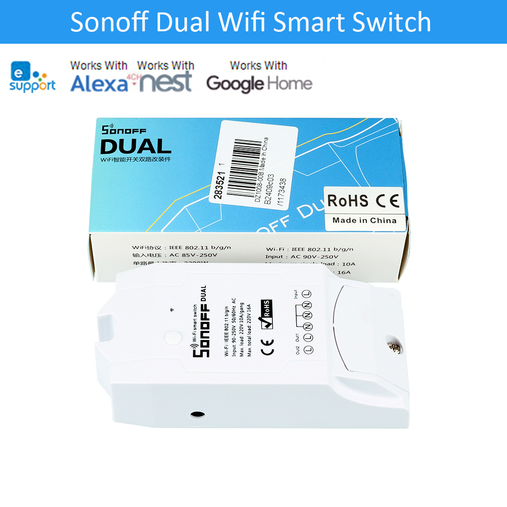 Sonoff Dual Home Automation Drahtlose WiFi Smart Smart Switch Modul Fernbedienung 16A für Doppel