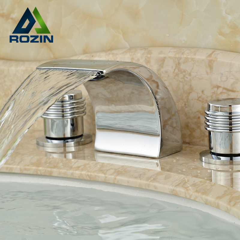 ФОТО Brand New Brass Chrome Bathroom Basin Sink Faucet Widespread Dual Handles Mixer Tap