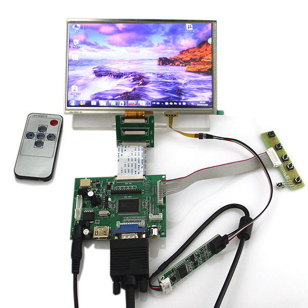 Controller Driver Board+Touch Panel for Raspberry Pi+ 7inch 1024x600 LCD Display 7inch hdmi lcd display module 1024 600 touch screen digitizer driver board hdmi interface controller for raspberry pi