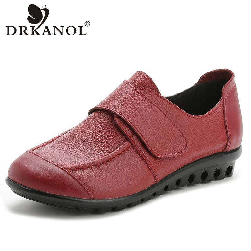 DRKANOL New Plus Size 35-43 Genuine Leather Women Shoes Comfortable Soft Casual Flat Shoes Women Flats Loafers Female Footwear