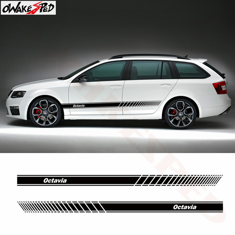 2 PCS Car Styling Stripes Side Skirt Sticker Vehicle Auto External Accessories Vinyl Decal Body Decor Decals For Skoda Octavia