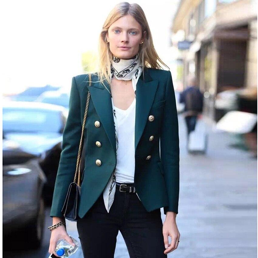 TOP QUALITY Newest 2019 Baroque Designer Blazer Women's Metal Lion Buttons Double Breasted Blazer Jacket Size S-XXXL Dark Green