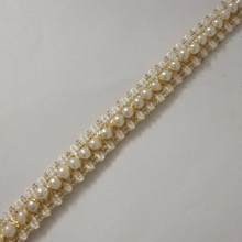 1yard Beaded Pearl White Gold Trimming Lace Ribbon Trim Scrapbooking Applique Embellishment Sewing For Wedding Dress