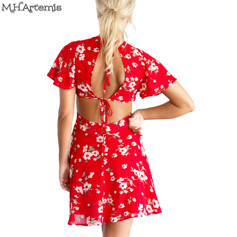 f00bdcc9908 M.H.Artemis Red floral print backless sexy mini dress Women beach summer  dress Vintage Sexy v neck short sleeve Fashion vestido-in Dresses from  Women s ...