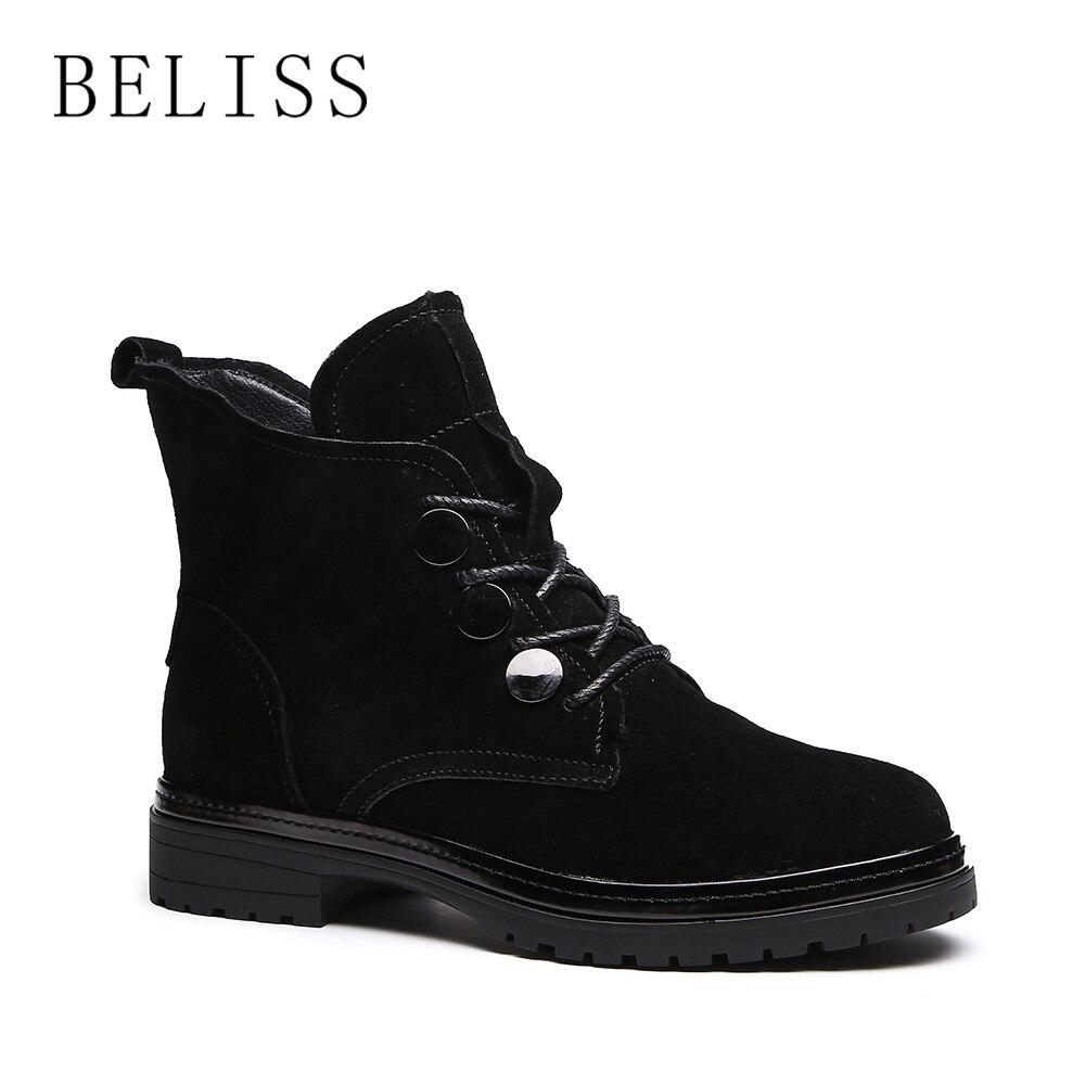 Black Vache Souple En Femmes Plate Dames Chaudes Bottes Chaussures forme Cuir Confortable Bottines À Lacets Daim D'hiver M12 Noir Beliss Pour qRzBn600