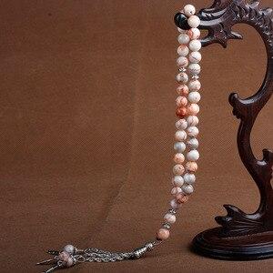 Image 5 - 8mm naturalny kamień kryształ agaty koralik Tassel wisiorek 33 różaniec islamski muzułmański Tasbih Allah Mohammed różaniec dla kobiet mężczyzn