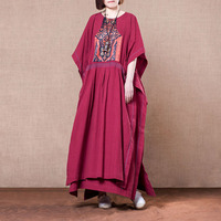 New 2019 female new spring and summer original plus size cotton and linen vintage ethnic long fashion dress