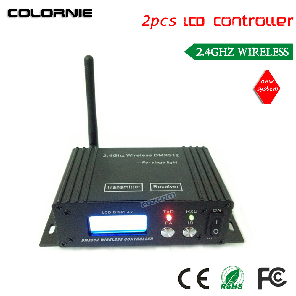 DHL Free Shipping LCD wireless DMX512 Receiver&Transmitter for stage lighting free shipping dmx512 wireless transmitter receiver 2 4ghz xlr dmx dj repeater led stage lighting controller with lcd display