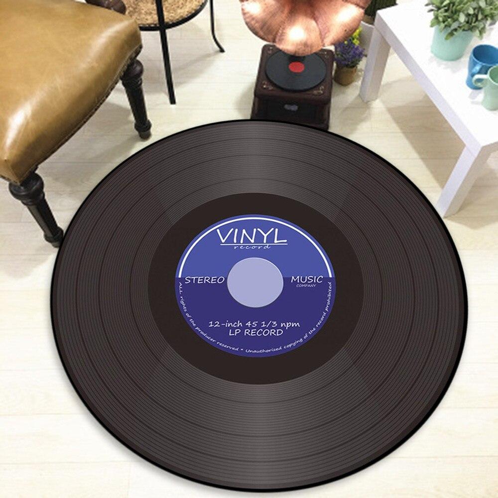 Новые ковры Виниловая пластинка напечатанный Мягкий тканевый круглый Противоскользящий напольный коврик ковер для комнаты, спальни, коврик для двери