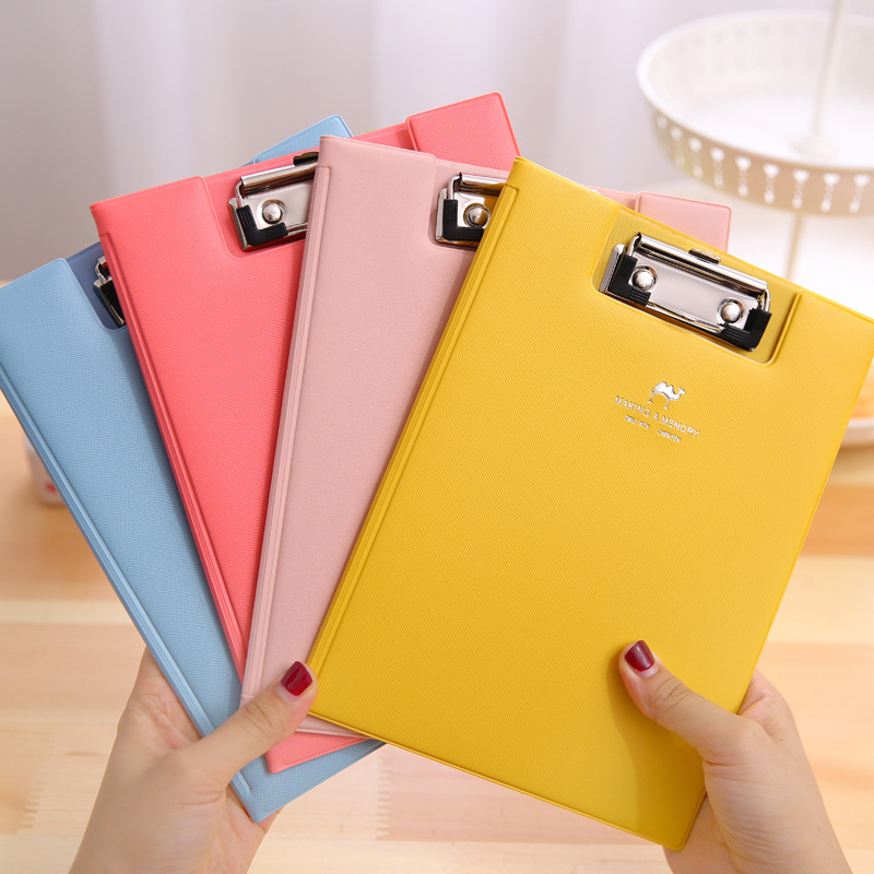 Candy color A5 Folder cute PU Leather paper folder for documents Korean stationery office school supplies zakka zakka