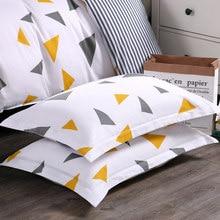 1 пара хлопковой ткани домашний отель Комплект постельного белья наволочка мягкая полоса шаблон подушка для взрослых оптовая продажа Бесплатная доставка