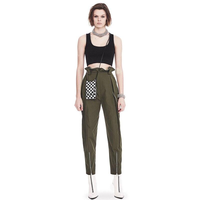 OXANT бисер большой размер шаровары для женщин молния армейский зеленый длина лодыжки брюки женские брюки с высокой талией повседневные - 4