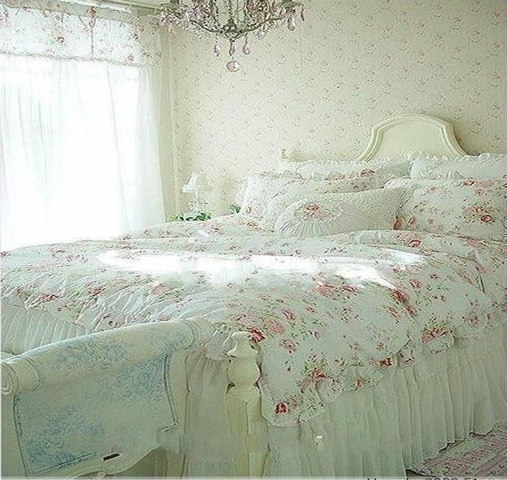 Vintage Red Rose princess Bedding set floral cotton girls Duvet Cover king queen twin rural comforter