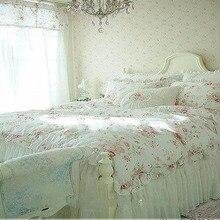 Винтажный комплект постельного белья принцессы с красной розой, цветочный хлопковый набор пододеяльников для девочек, пододеяльник, пододеяльник, набор постельного белья для детей