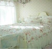 Vintage Red Rose princess Bedding set floral cotton girls Duvet Cover king queen twin rural comforter set