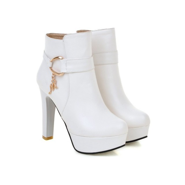 Women's Fashion Elegant Booties High Heels Shoes For Ladies Online Black And White Platform Ankle Boots Pink Beige