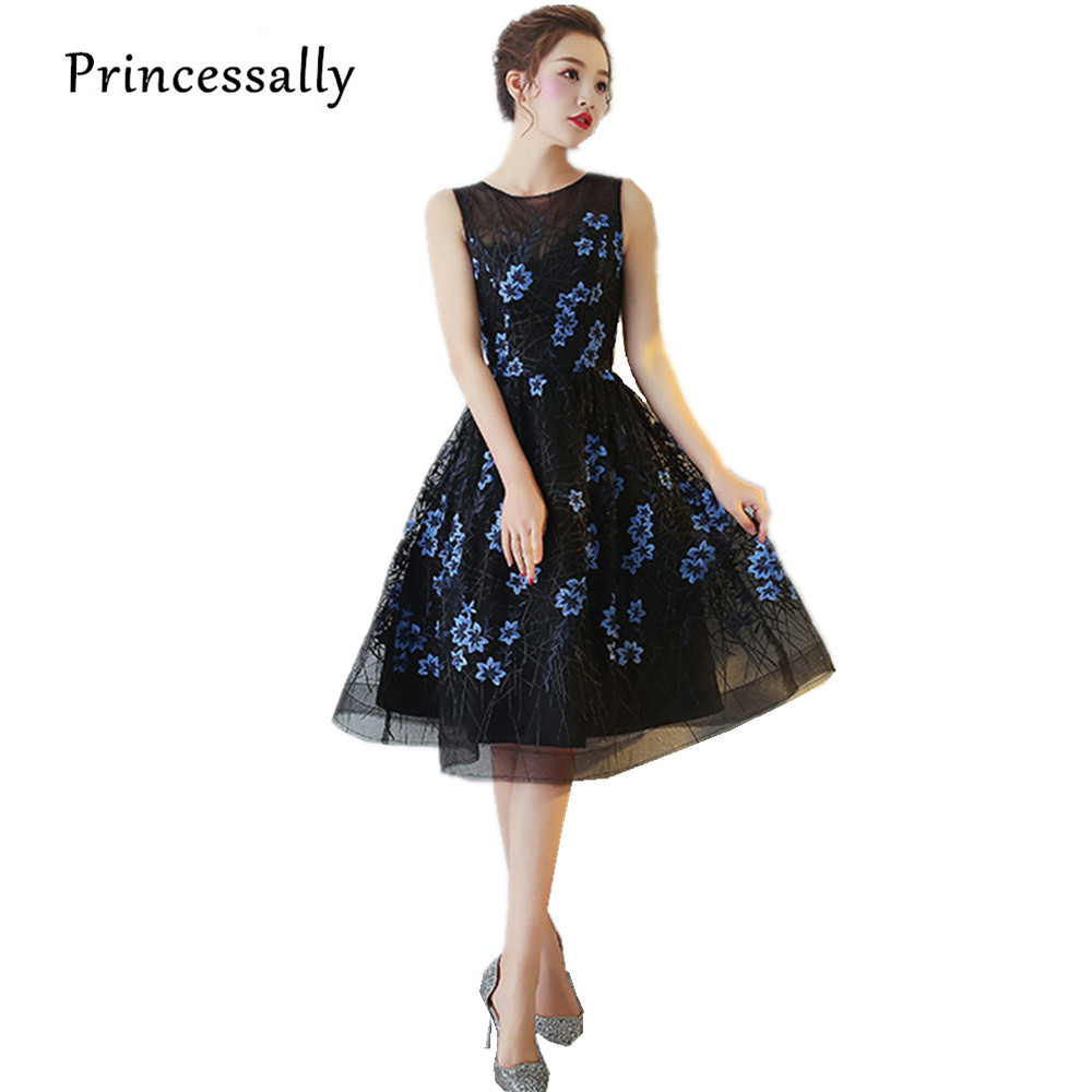 4248abdc779 Elegant Black Cocktail Dresses New Fashion Strapless Blue Flower Embriodery  Short Lace Evening Gowns Bride Formal Prom Dress New