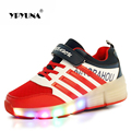Zapatillas de deporte de tamaño 28-37//zapato led niños con ruedas de la luz luminosa simulación tenis roller skate shoes para niños girls & boys