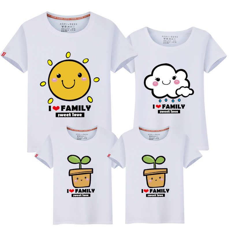 49fec8ead3 Familia camisetas de dibujos animados madre y hija ropa Ropa Camisetas Padre  hijo familia juego trajes