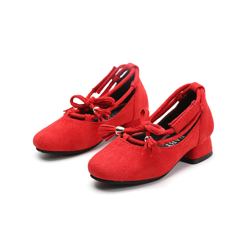 2018 Girls Leather Shoes Square Medium Heel Artificial Leather Princess Dance Shoes with Tassels Red Shoes High Heels Size 26-30