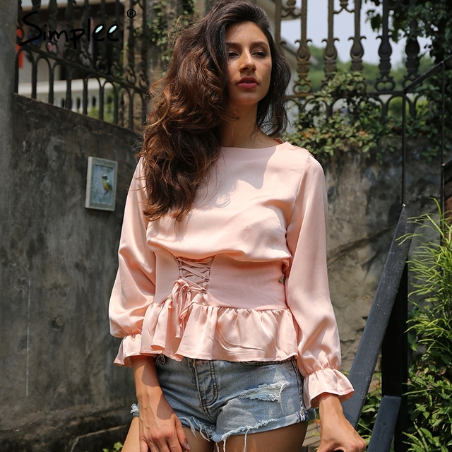 Simplee Elegant lace up chiffon blouse shirt Long flare sleeve waist tie blouses women tops Summer 2017 casual blouse blusas new